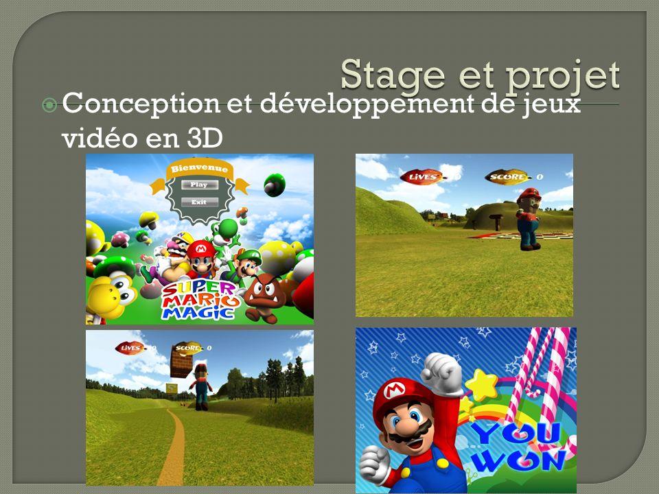 Stage et projet Conception et développement de jeux vidéo en 3D