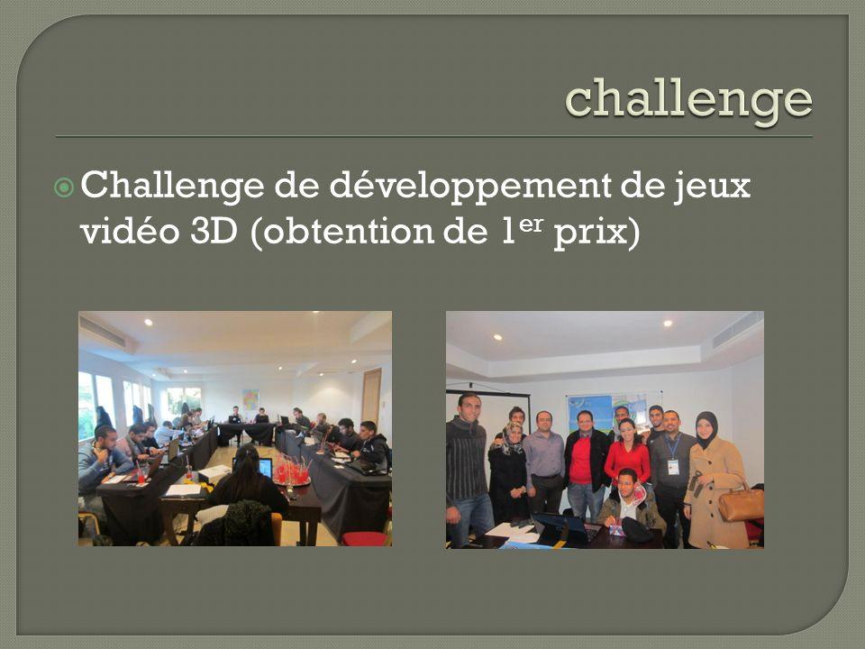 challenge Challenge de développement de jeux vidéo 3D (obtention de 1er prix)