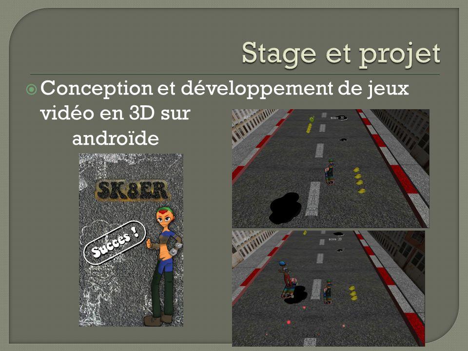 Stage et projet Conception et développement de jeux vidéo en 3D sur