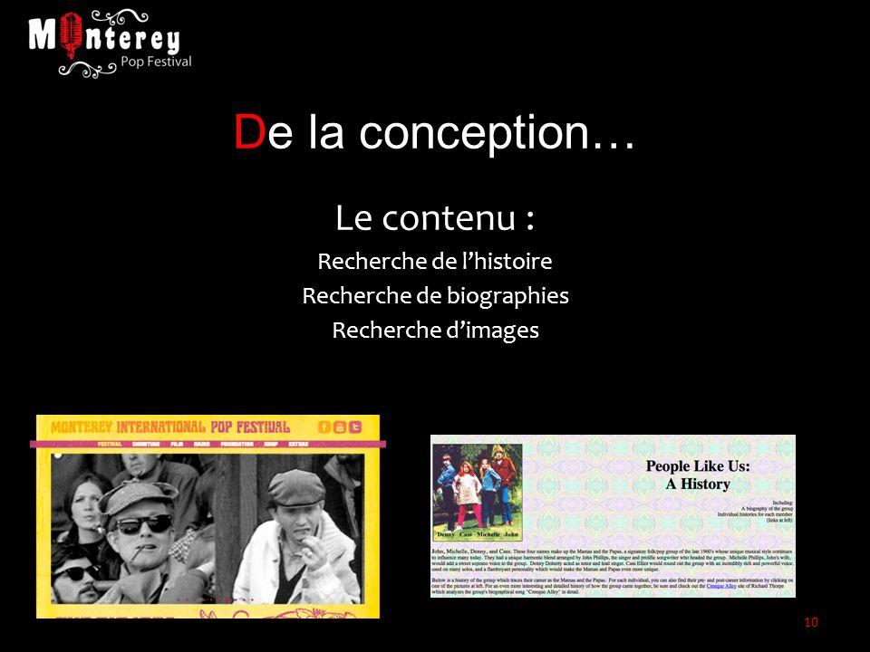 De la conception… Le contenu : Recherche de l'histoire