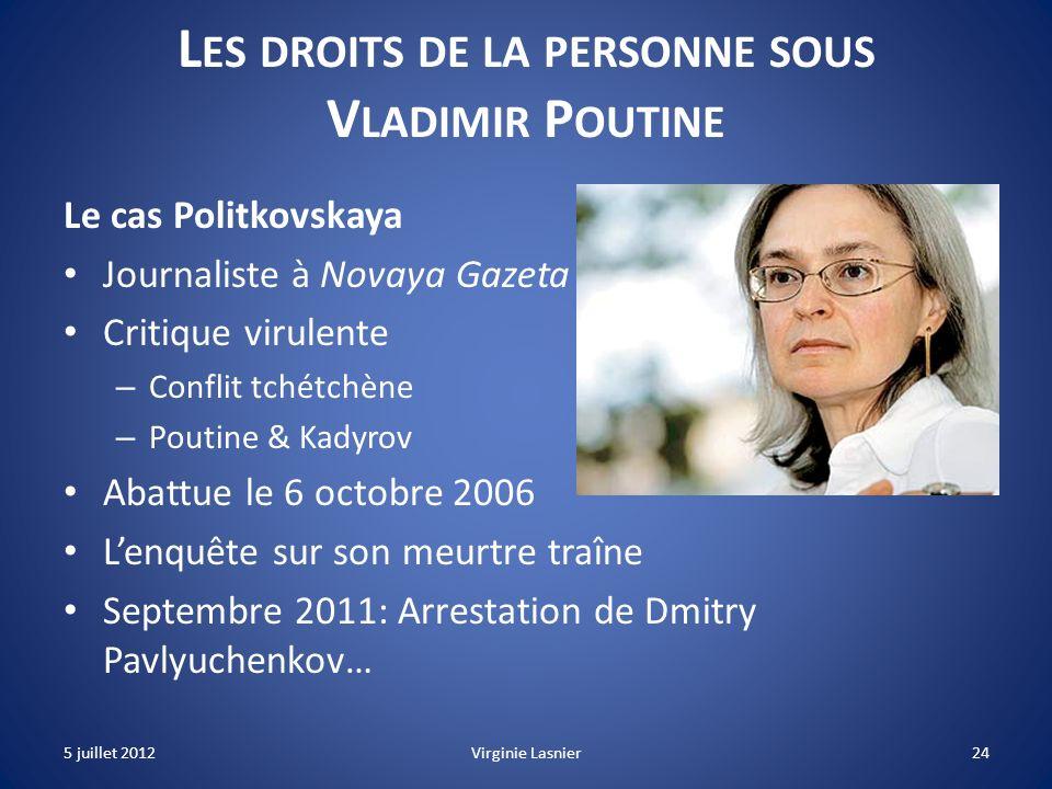 Les droits de la personne sous Vladimir Poutine