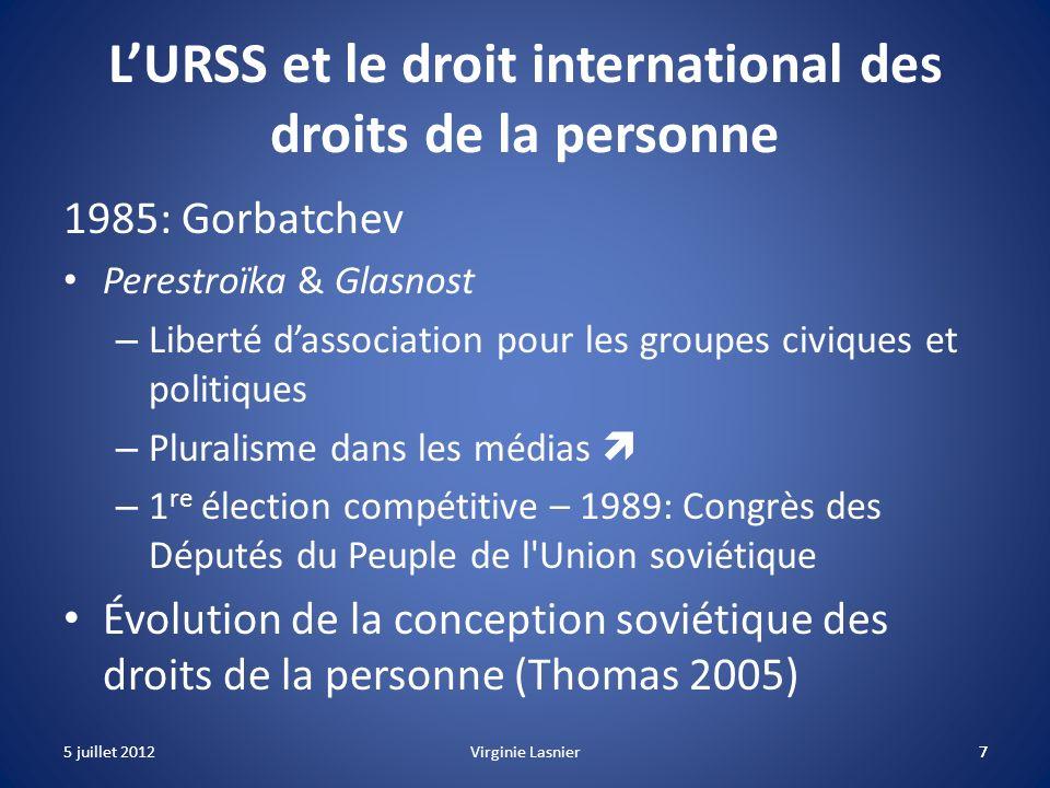 L'URSS et le droit international des droits de la personne