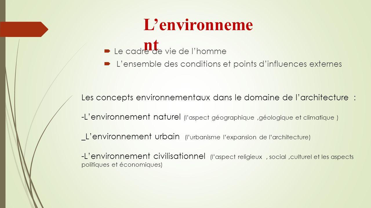 L'environnement Le cadre de vie de l'homme