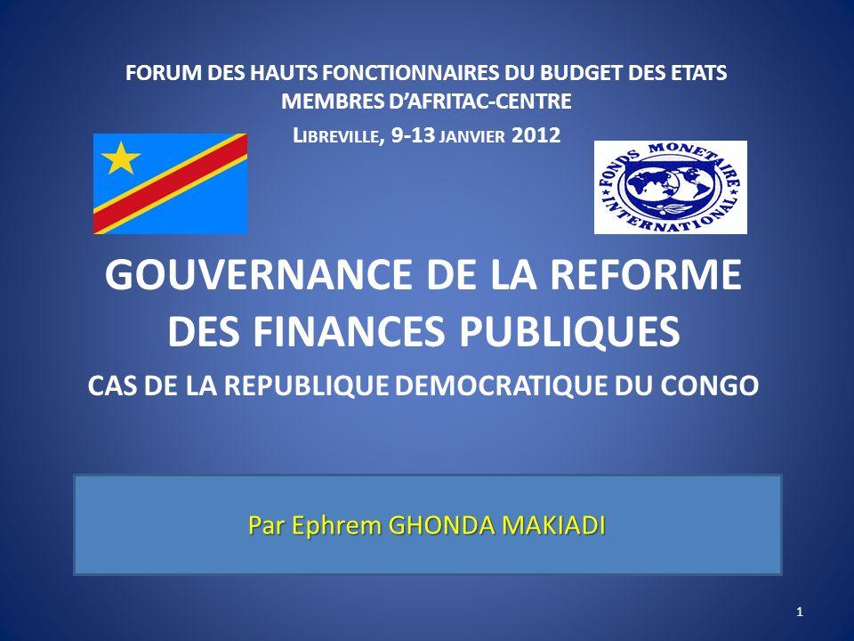 GOUVERNANCE DE LA REFORME DES FINANCES PUBLIQUES