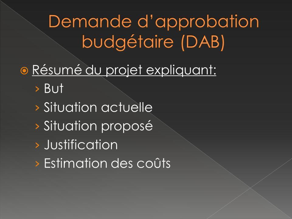 Demande d'approbation budgétaire (DAB)