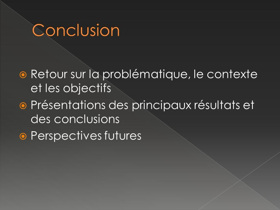 Conclusion Retour sur la problématique, le contexte et les objectifs