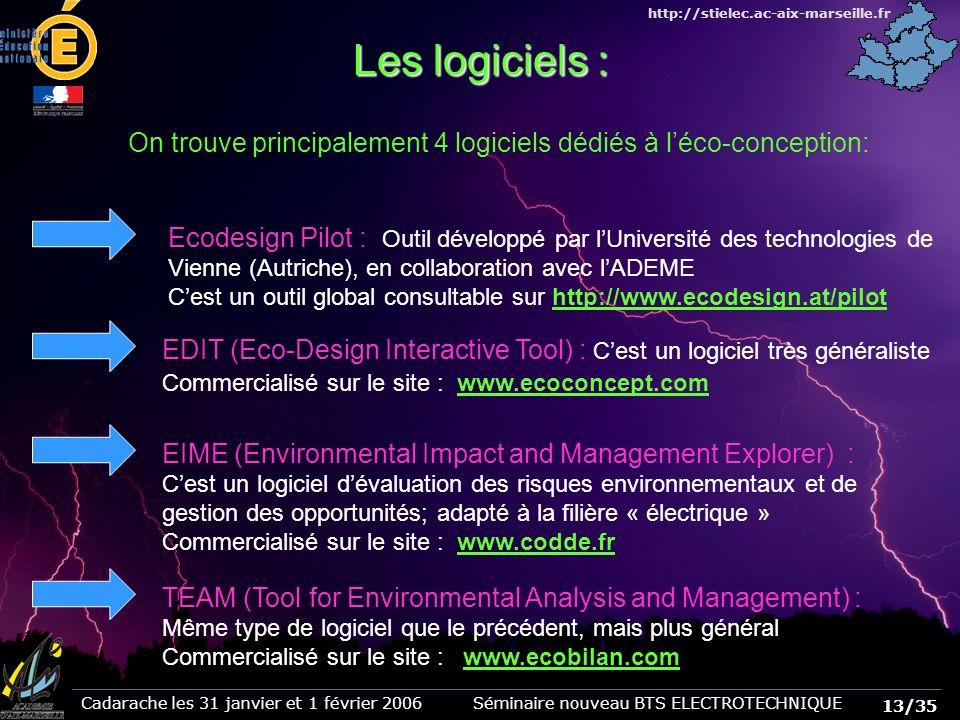 Les logiciels : On trouve principalement 4 logiciels dédiés à l'éco-conception: