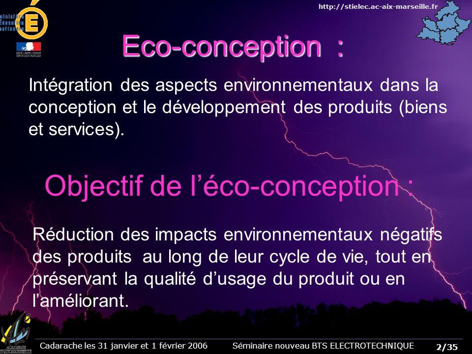Objectif de l'éco-conception :