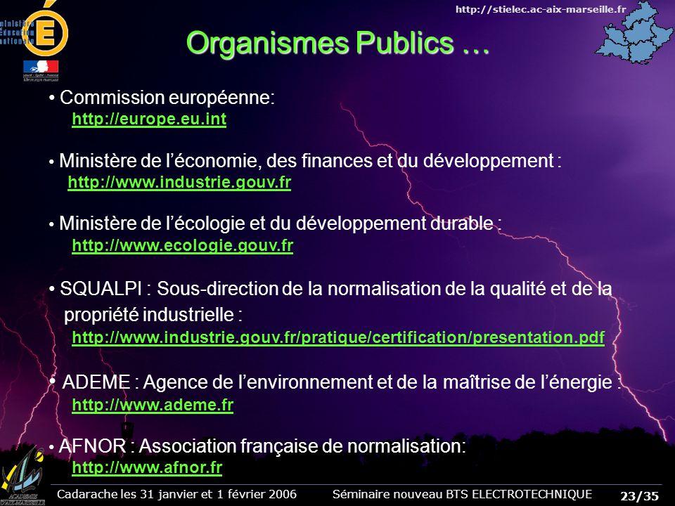 Organismes Publics … Commission européenne: http://europe.eu.int. Ministère de l'économie, des finances et du développement :