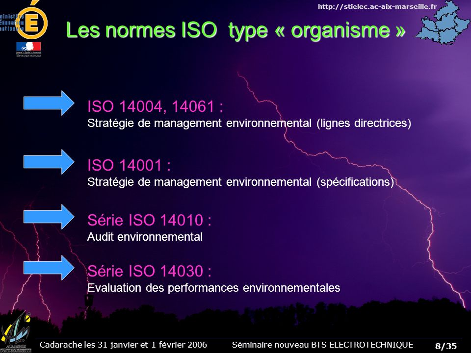 Les normes ISO type « organisme »