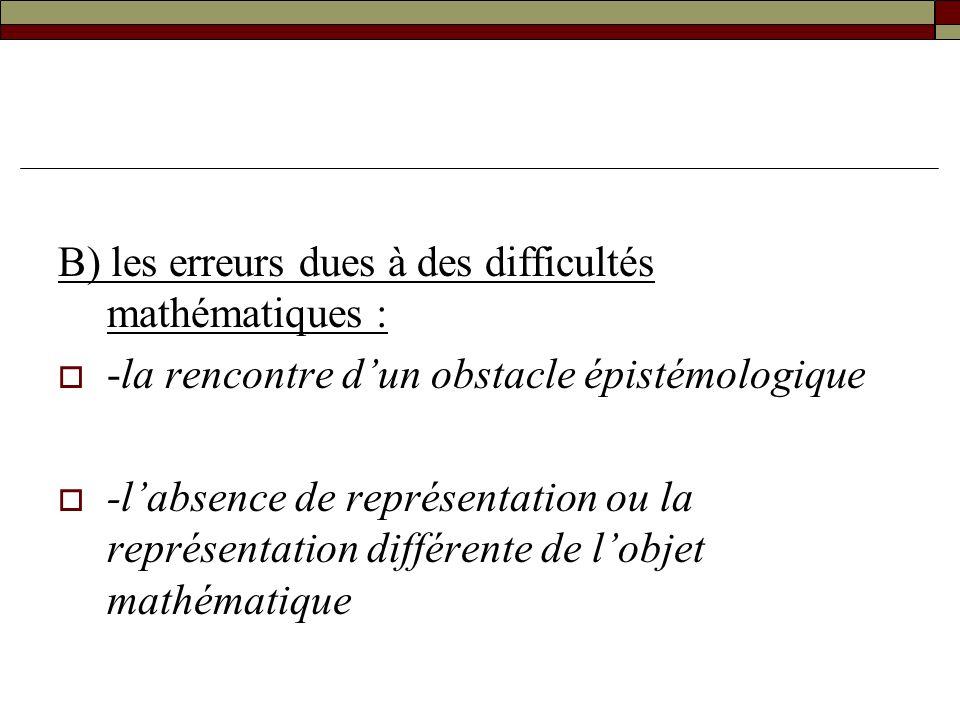 B) les erreurs dues à des difficultés mathématiques :