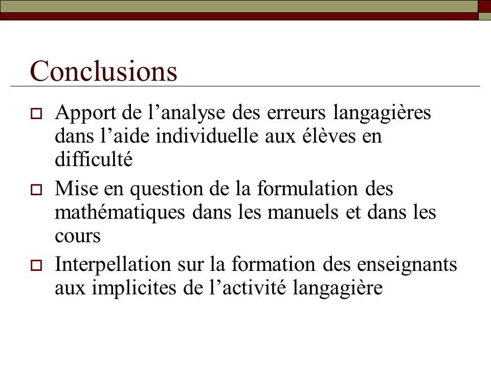 Conclusions Apport de l'analyse des erreurs langagières dans l'aide individuelle aux élèves en difficulté.