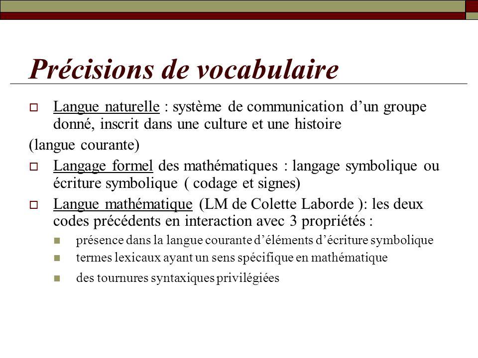 Précisions de vocabulaire