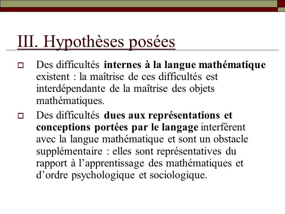 III. Hypothèses posées