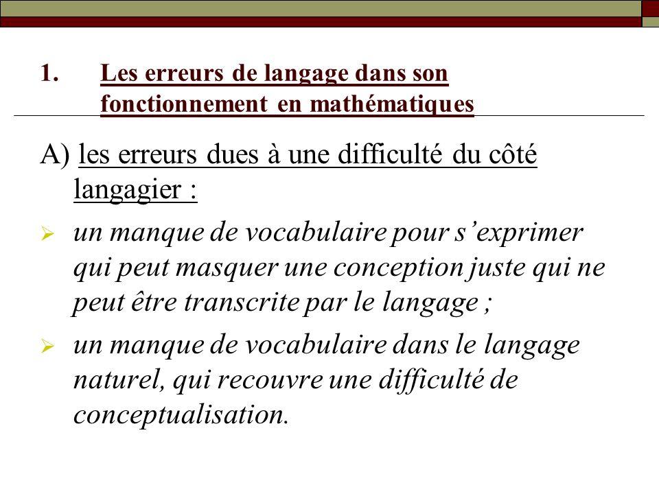 Les erreurs de langage dans son fonctionnement en mathématiques