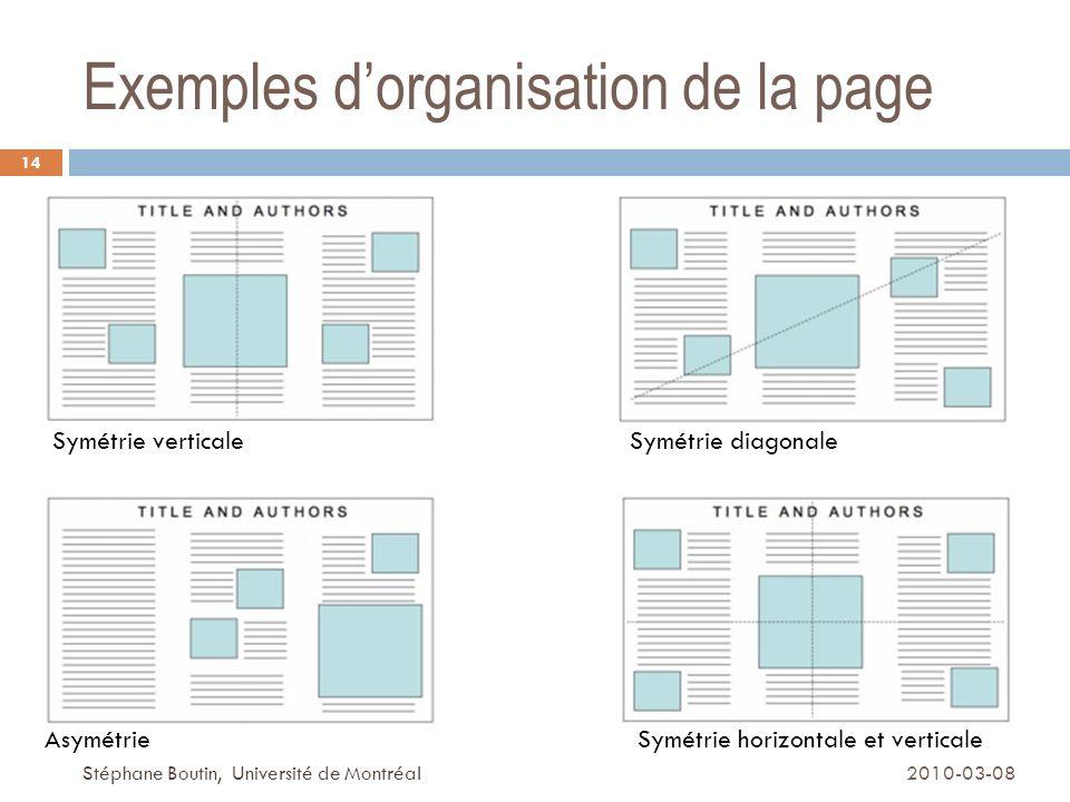 Exemples d'organisation de la page