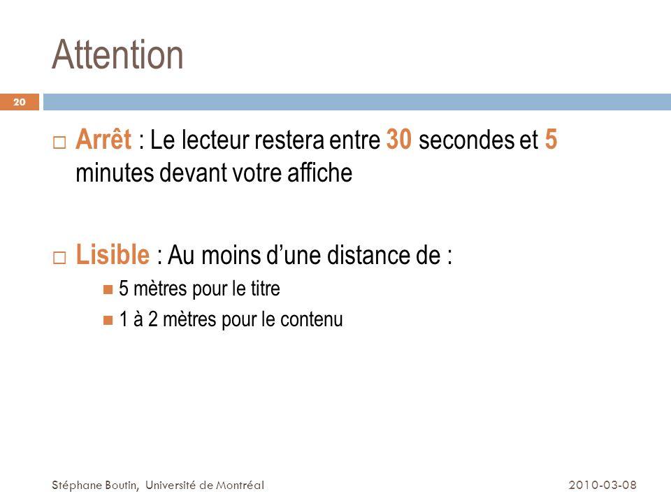 Attention Arrêt : Le lecteur restera entre 30 secondes et 5 minutes devant votre affiche. Lisible : Au moins d'une distance de :