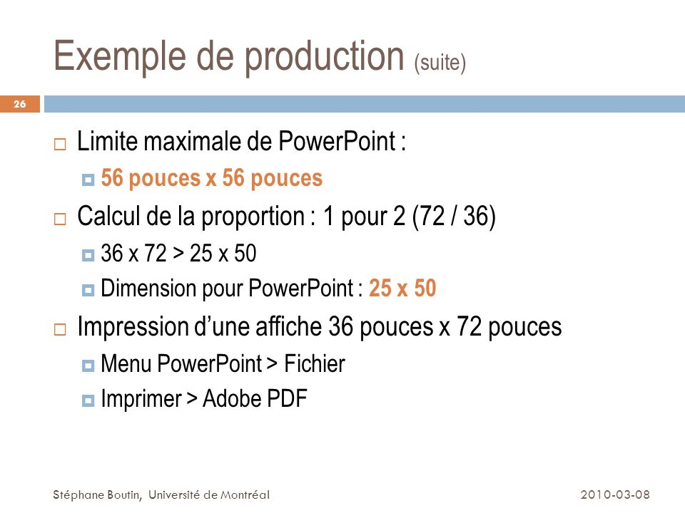 Exemple de production (suite)