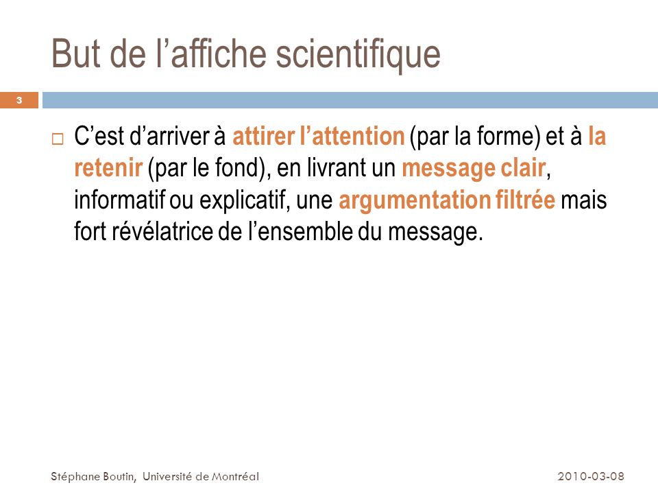 But de l'affiche scientifique