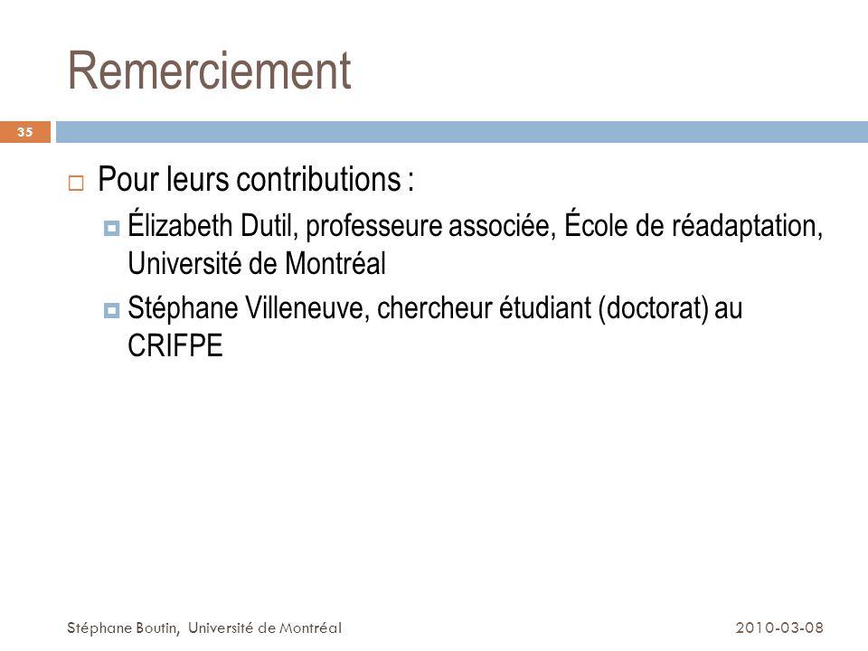 Remerciement Pour leurs contributions :