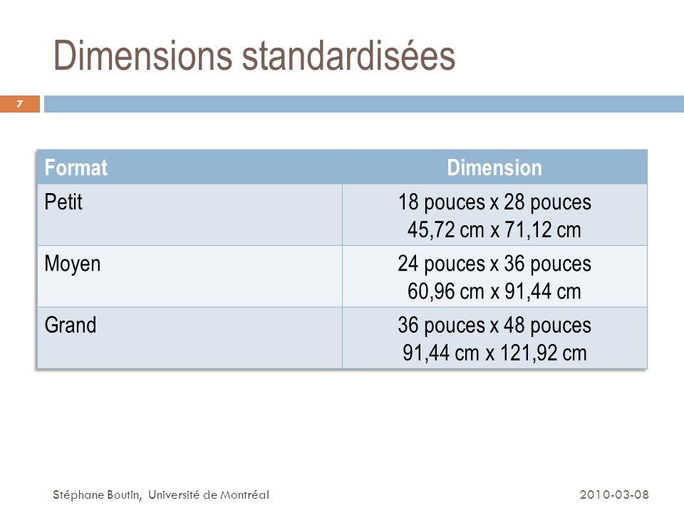 Dimensions standardisées