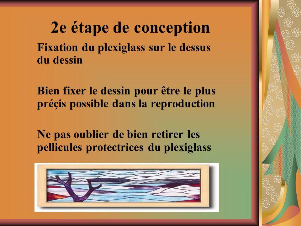 2e étape de conception Fixation du plexiglass sur le dessus du dessin