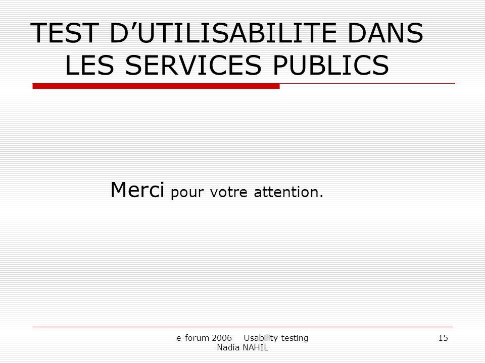 TEST D'UTILISABILITE DANS LES SERVICES PUBLICS