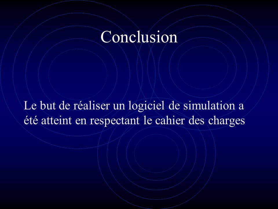 Conclusion Le but de réaliser un logiciel de simulation a été atteint en respectant le cahier des charges.