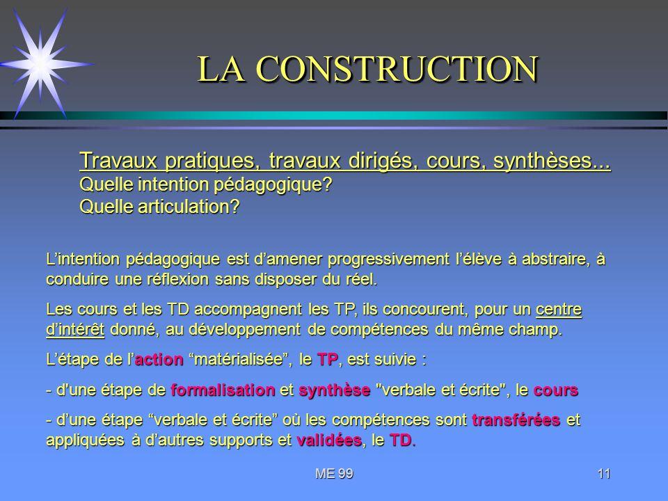 LA CONSTRUCTION Travaux pratiques, travaux dirigés, cours, synthèses... Quelle intention pédagogique