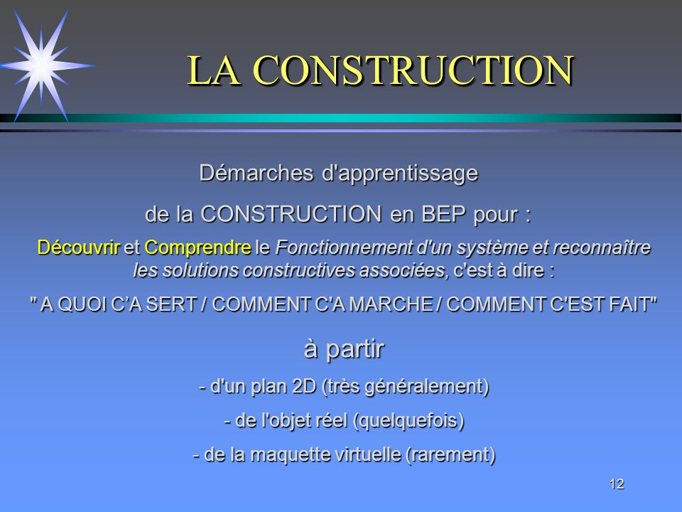 LA CONSTRUCTION à partir Démarches d apprentissage