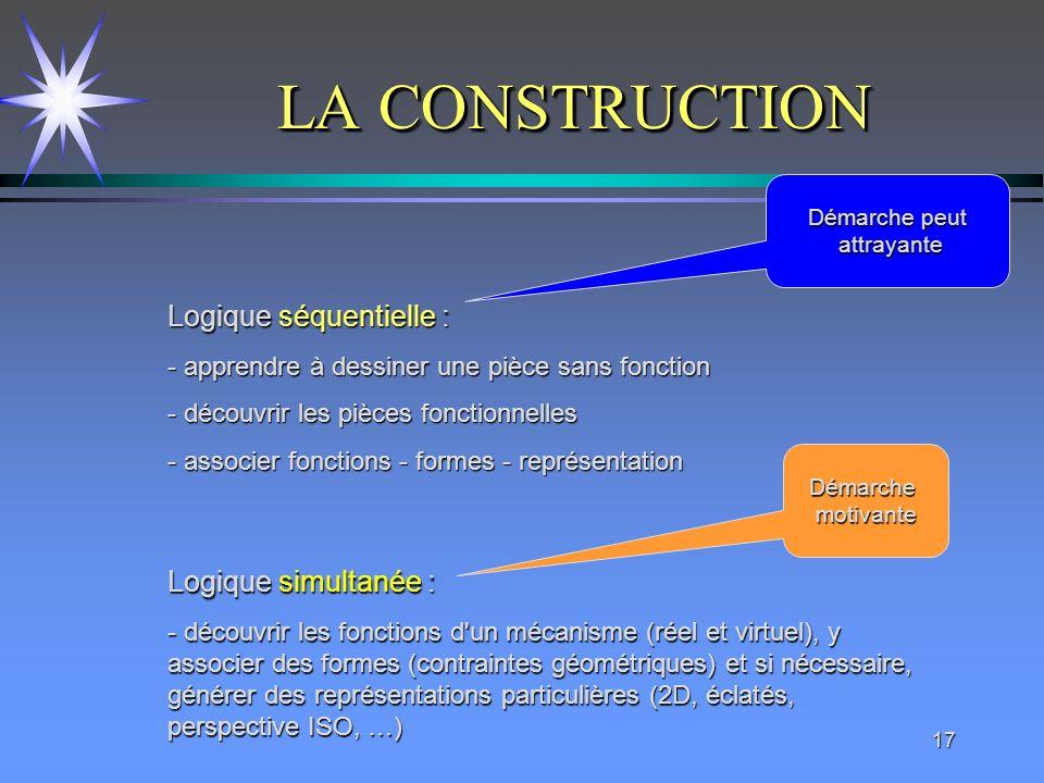 LA CONSTRUCTION Logique séquentielle : Logique simultanée :