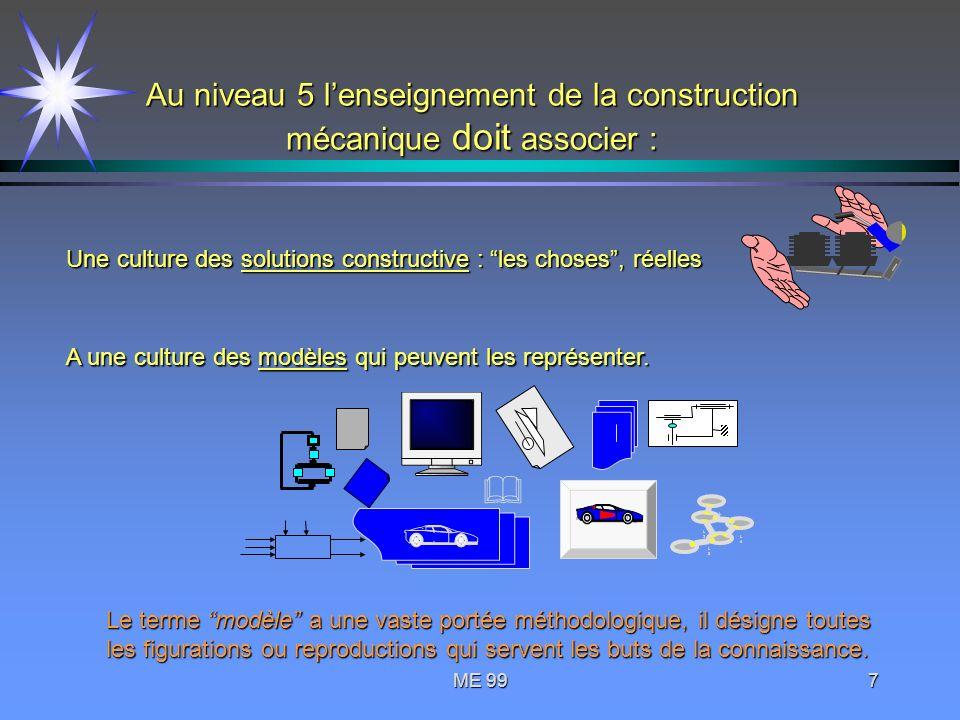 Au niveau 5 l'enseignement de la construction mécanique doit associer :