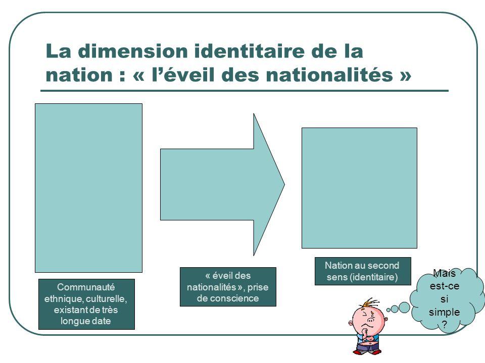 La dimension identitaire de la nation : « l'éveil des nationalités »