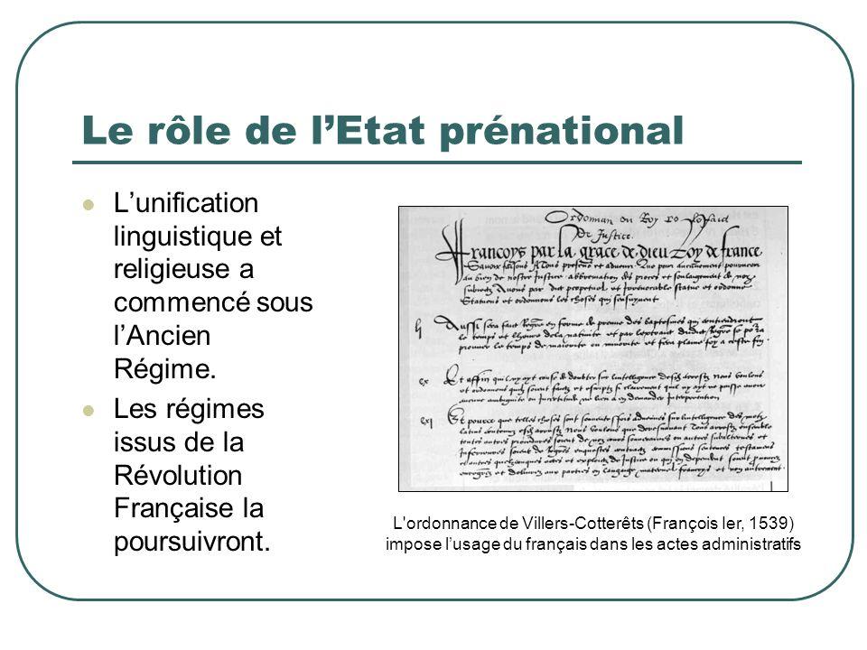 Le rôle de l'Etat prénational