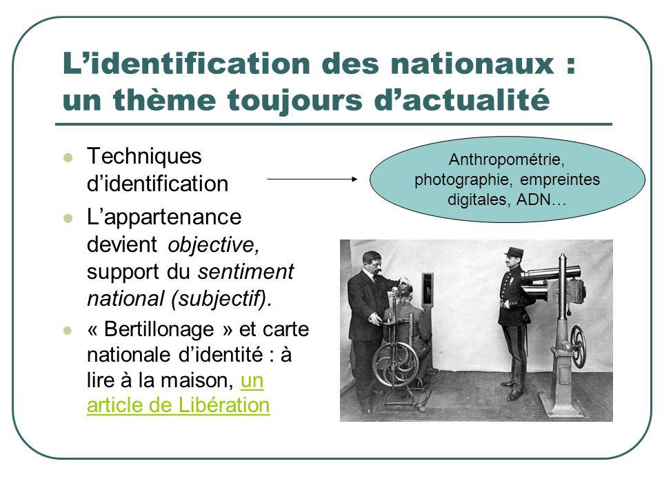 L'identification des nationaux : un thème toujours d'actualité
