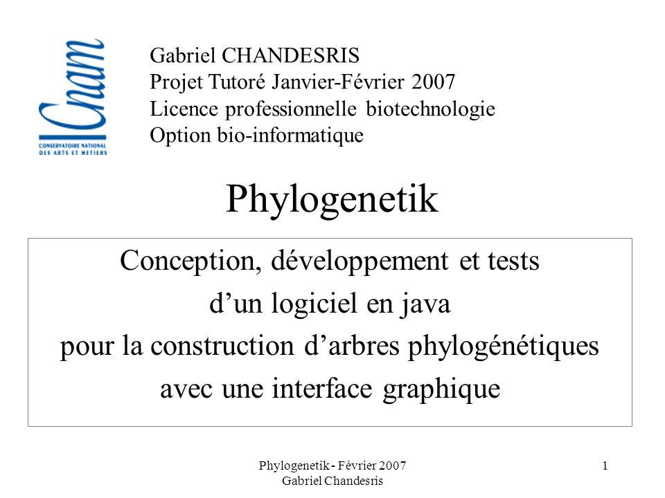 Phylogenetik Conception, développement et tests d'un logiciel en java