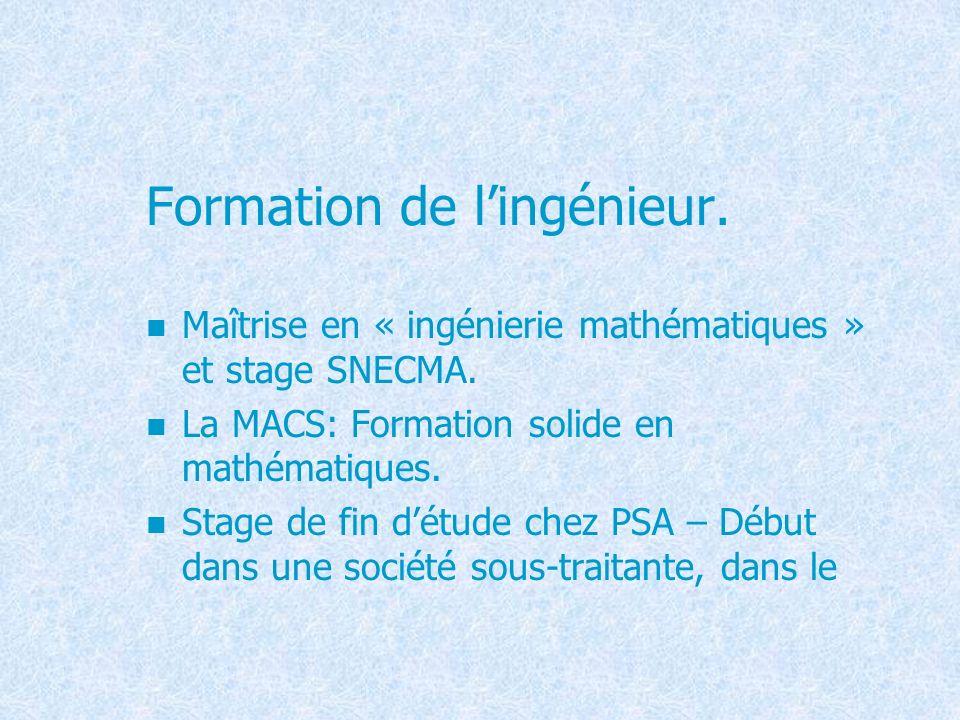 Formation de l'ingénieur.