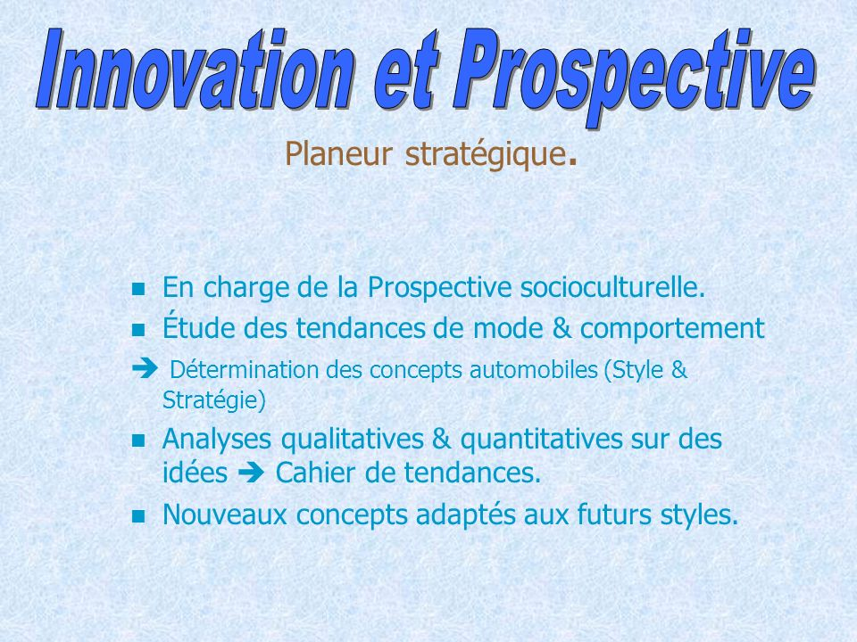 Innovation et Prospective