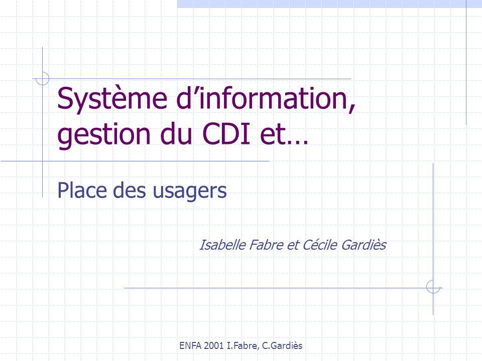 Système d'information, gestion du CDI et…