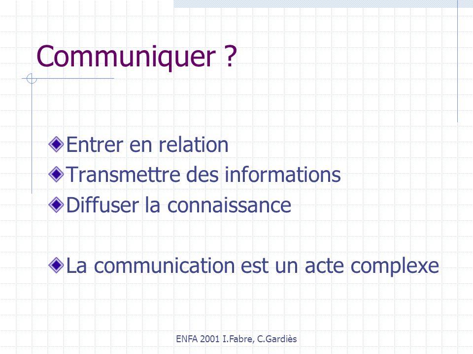 Communiquer Entrer en relation Transmettre des informations