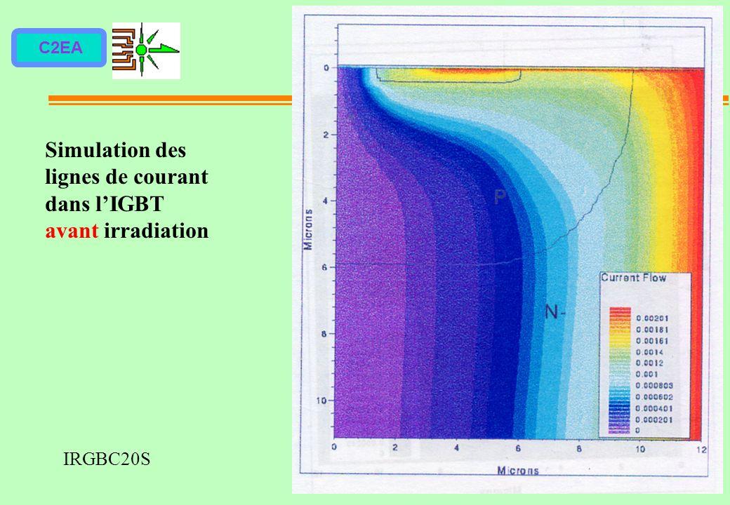Simulation des lignes de courant dans l'IGBT avant irradiation