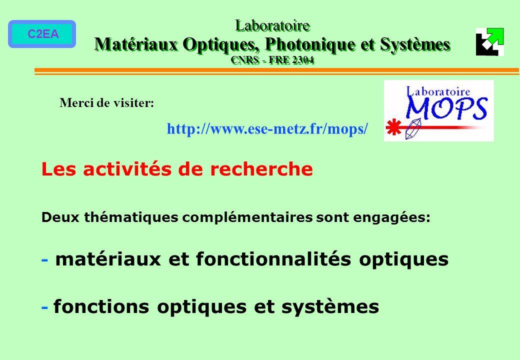 Laboratoire Matériaux Optiques, Photonique et Systèmes CNRS - FRE 2304