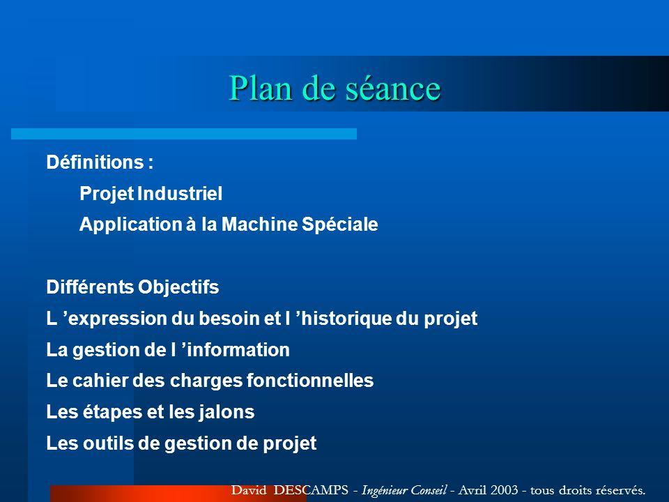 Plan de séance Définitions : Projet Industriel