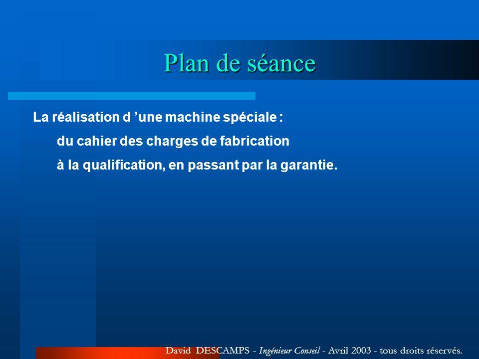 Plan de séance La réalisation d 'une machine spéciale :