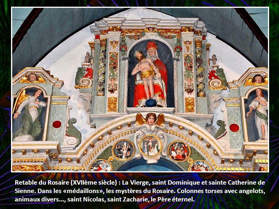 Retable du Rosaire (XVIIème siècle) : La Vierge, saint Dominique et sainte Catherine de Sienne.