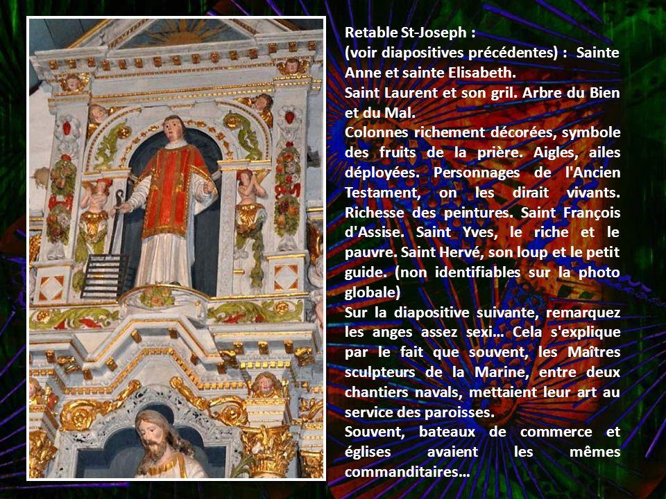 Retable St-Joseph : (voir diapositives précédentes) : Sainte Anne et sainte Elisabeth. Saint Laurent et son gril. Arbre du Bien et du Mal.