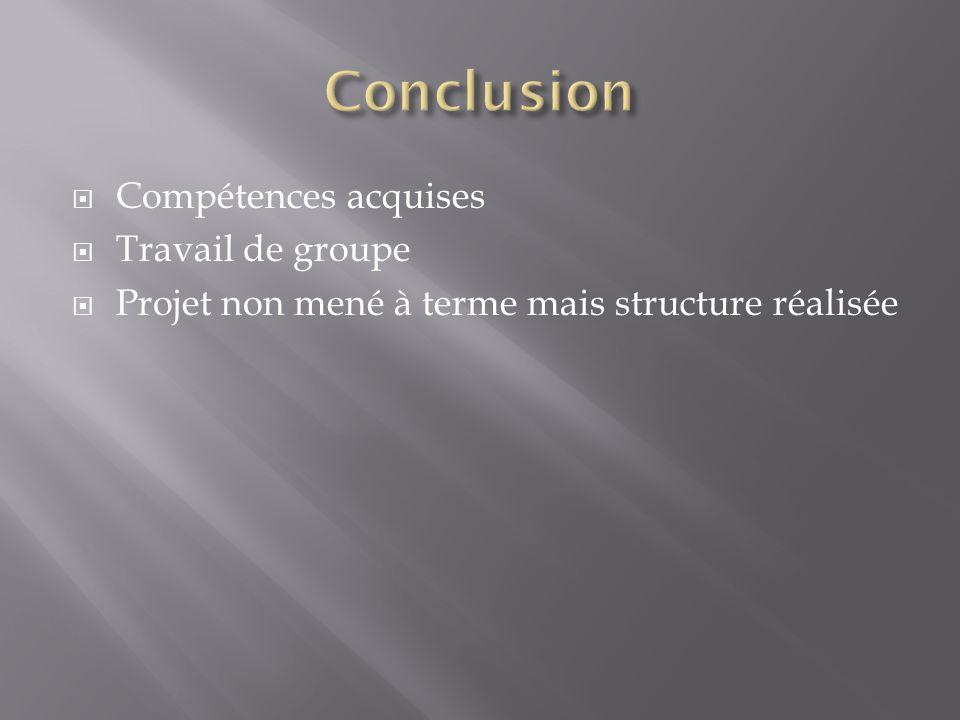Conclusion Compétences acquises Travail de groupe