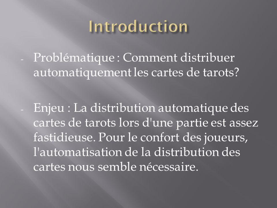 Introduction Problématique : Comment distribuer automatiquement les cartes de tarots