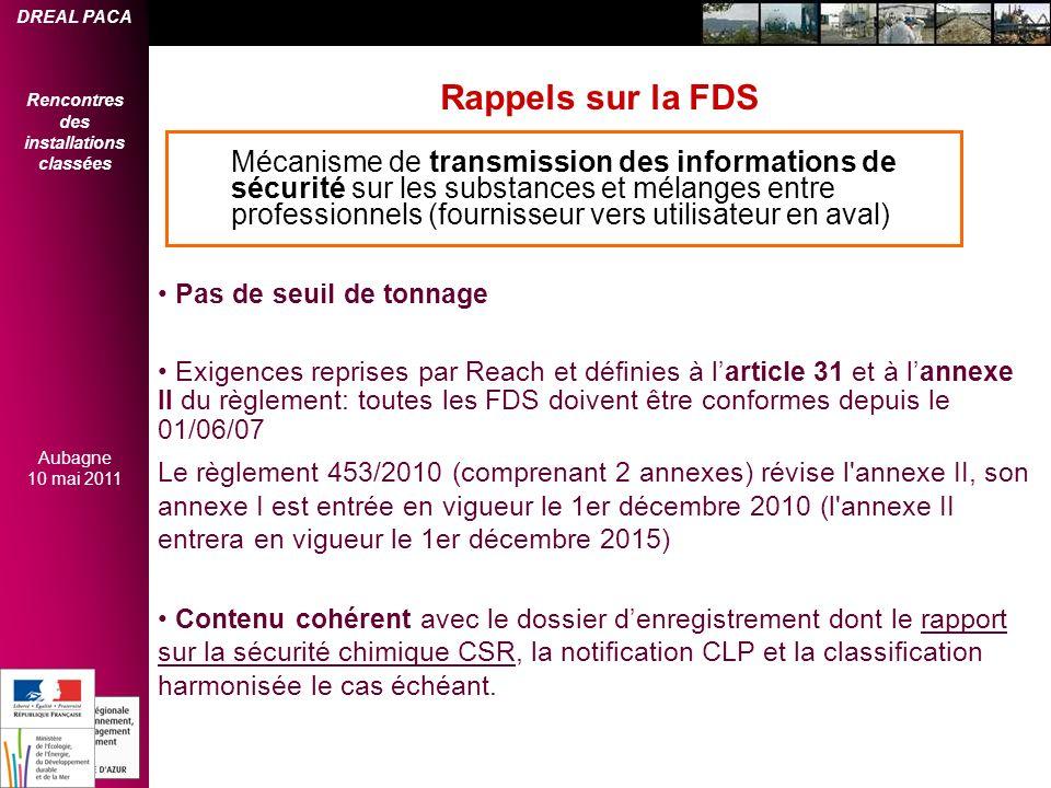 Rappels sur la FDS