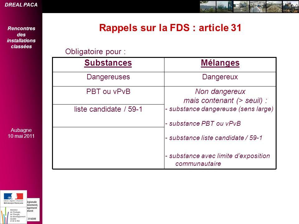 Rappels sur la FDS : article 31